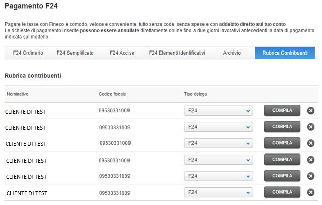 Bollettini utenze e f24 fineco bank for Istruzioni compilazione f24 elide