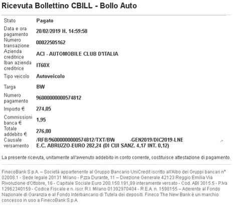 SCARICARE RICEVUTA BOLLO AUTO